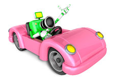 Driving a Pink Convertible car in green camera Character. Create Stock Photos