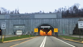 Driving POV Entering Allegheny Mountain Tunnel on Pennsylvania Turnpike stock video