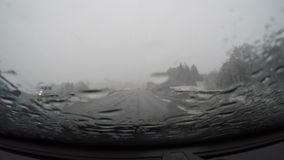 Driving POV in rain stock footage
