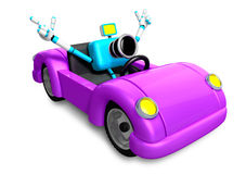 Driving a purple sports car in biue camera Character. Create 3D Royalty Free Stock Photos