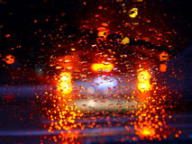 Driving in the rain. At night royalty free stock photos