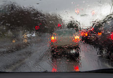 Driving in rain Royalty Free Stock Image