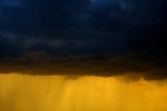Driving rain. Heavy rain with thunder clouds Stock Photo
