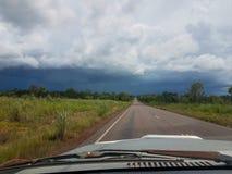 Driving into rain Stock Photo