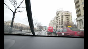 Driving in the rain with sound stock video footage