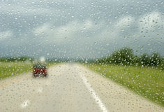 Driving in a Rain Storm Royalty Free Stock Photography