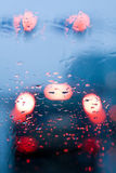Driving in a rain, traffic jam in car Royalty Free Stock Image