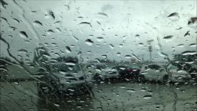 Driving on raining day stock video footage