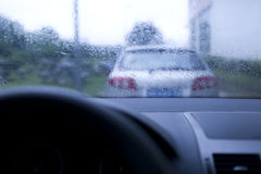 Driving in raining day Royalty Free Stock Images