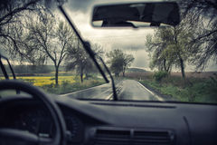 Driving  on a rainy day Stock Image