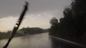 Driving on a rainy day stock footage