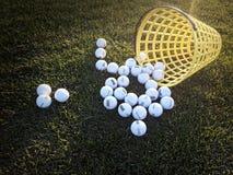 Driving range basket. A basket of golf balls on the driving range Royalty Free Stock Photography