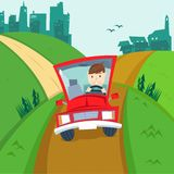 Driving Red Car Royalty Free Stock Images