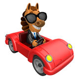 Driving a Red sports car in 3D Horse character. 3D Animal Charac Royalty Free Stock Image