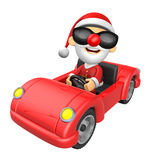 Driving a red sports car in 3D Santa character. 3D Christmas Cha Royalty Free Stock Image