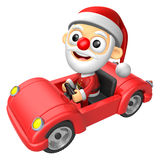 Driving a red sports car in 3D Santa character. 3D Christmas Cha Stock Photography