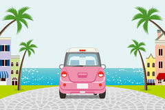 Driving retro Pink Car in Summer seaside town - EPS10 royalty free illustration