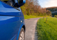 Driving on the road. Driving on a very nice and green road in France Royalty Free Stock Photo