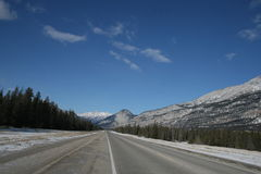 Driving in rocky mountains range. Jasper national park, alberta, canada, good sunny weather Stock Photos