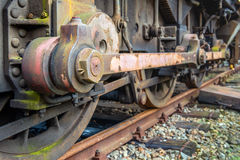 Driving rod of an old diesel-electric locomotive from close Royalty Free Stock Photography