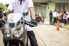 Driving a safe motorcycle. Royalty Free Stock Photography