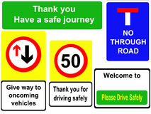 Driving safely signs Royalty Free Stock Photos