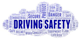 Driving Safety word cloud. Word cloud made with text only vector illustration