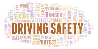Driving Safety word cloud. Word cloud made with text only royalty free illustration