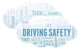 Driving Safety word cloud. Word cloud made with text only stock illustration