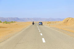 Driving through the Sahara Desert Morocco. Driving through the Sahara Desert in Morocco Stock Photo