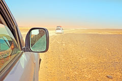 Driving through the Sahara Desert in Morocco. Africa Royalty Free Stock Photo