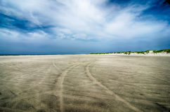 Driving on sandy beach at outer banks north carolina Royalty Free Stock Photography