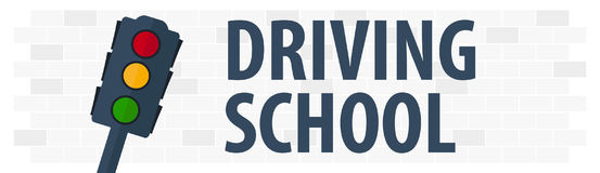 Driving School Banner. Auto Education. The rules of the road. Vector illustration. Royalty Free Stock Photography