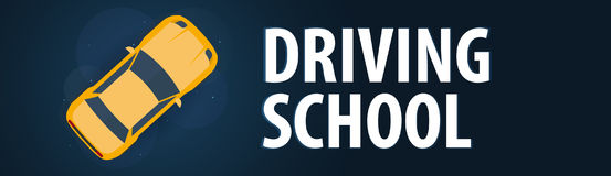 Driving School Banner. Auto Education. The rules of the road. Vector illustration. Royalty Free Stock Photo