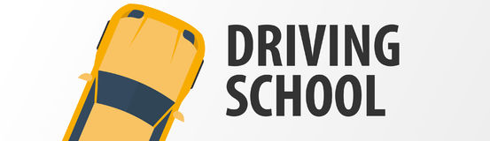 Driving School Banner. Auto Education. The rules of the road. Vector illustration. Royalty Free Stock Photos