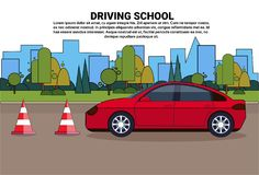 Driving School Banner, Vehicle On Road, Auto Drive Education Practice Exam Concept. Flat Vector Illustration vector illustration