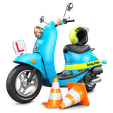 Driving school concept. Classic scooter, traffic cones and helmet. Isolated on white background 3d vector illustration