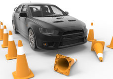 Driving school concept. 3D render illustration of the driving school concept. A black car is positioned between multiple traffic cones and the two cones in front royalty free illustration