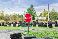 Driving school, driver training, road of the old tires Royalty Free Stock Photo