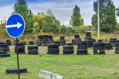 Driving school, driver training, road of the old tires Stock Image