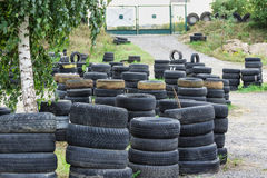 Driving school, driver training, road of the old tires Stock Photos