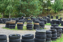 Driving school, driver training, road of the old tires Royalty Free Stock Image
