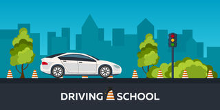 Driving school illustration. Auto. Auto Education. The rules of the road. Practice. Stock Photos
