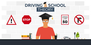 Driving school illustration. Auto. Auto Education. The rules of the road. Practice. Stock Photo
