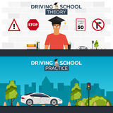 Driving school illustration. Auto. Auto Education. The rules of the road. Practice. Stock Photography