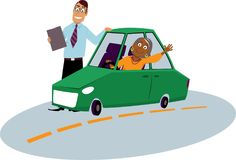 Driving school for immigrants. Mature immigrant woman driving school student sitting in the car driving instructor standing next to him, EPS 8 vector royalty free illustration
