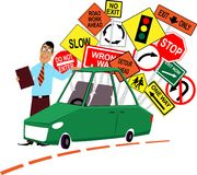 Driving school instructor. Standing in front of a car, assorted traffic signs behind him, EPS 8 vector illustration Royalty Free Stock Photos