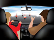 Driving school. Learner driving car with instructor. Vector illustration Stock Image