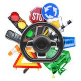 Driving school logo. 3d illustration. Driving school logo isolated on white background 3d Stock Photo