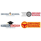 Driving school logo set. Auto Education. The rules of the road. Royalty Free Stock Photography